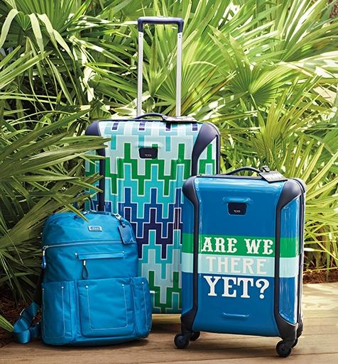 Jonathan Adler X Tumi Blue Luggage
