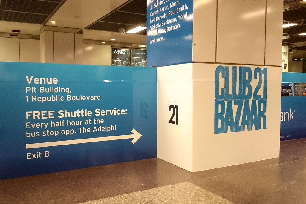 Club 21 Bazaar MRT station ad