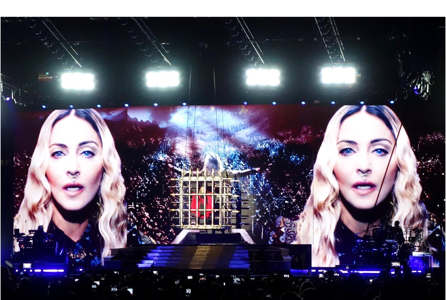 Madonna descending in a cage