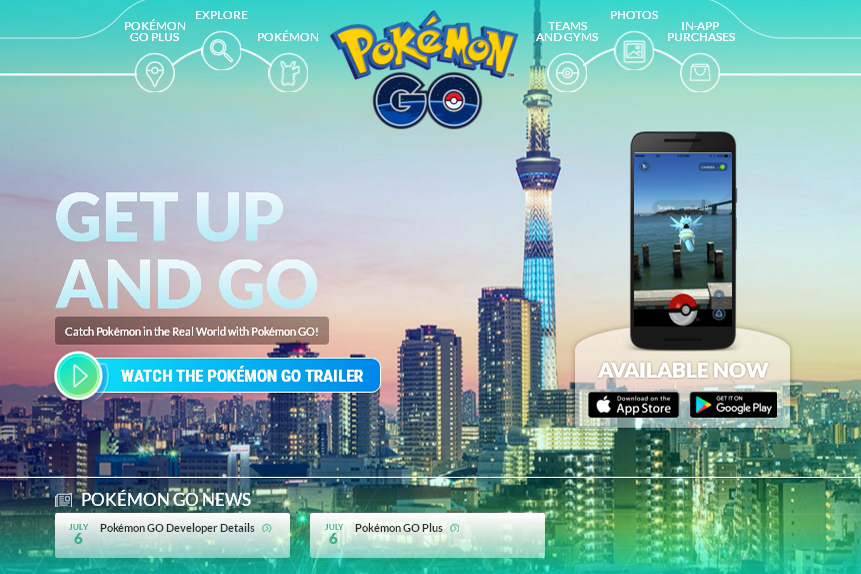 Pokémon Go homepage