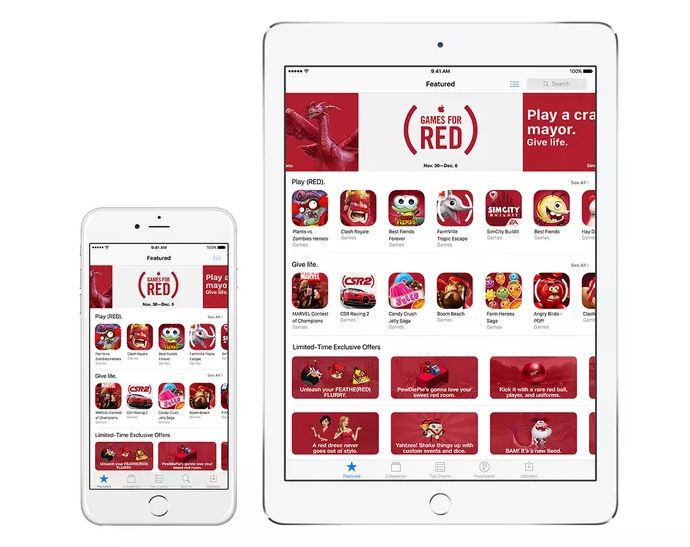 Red themed App Store