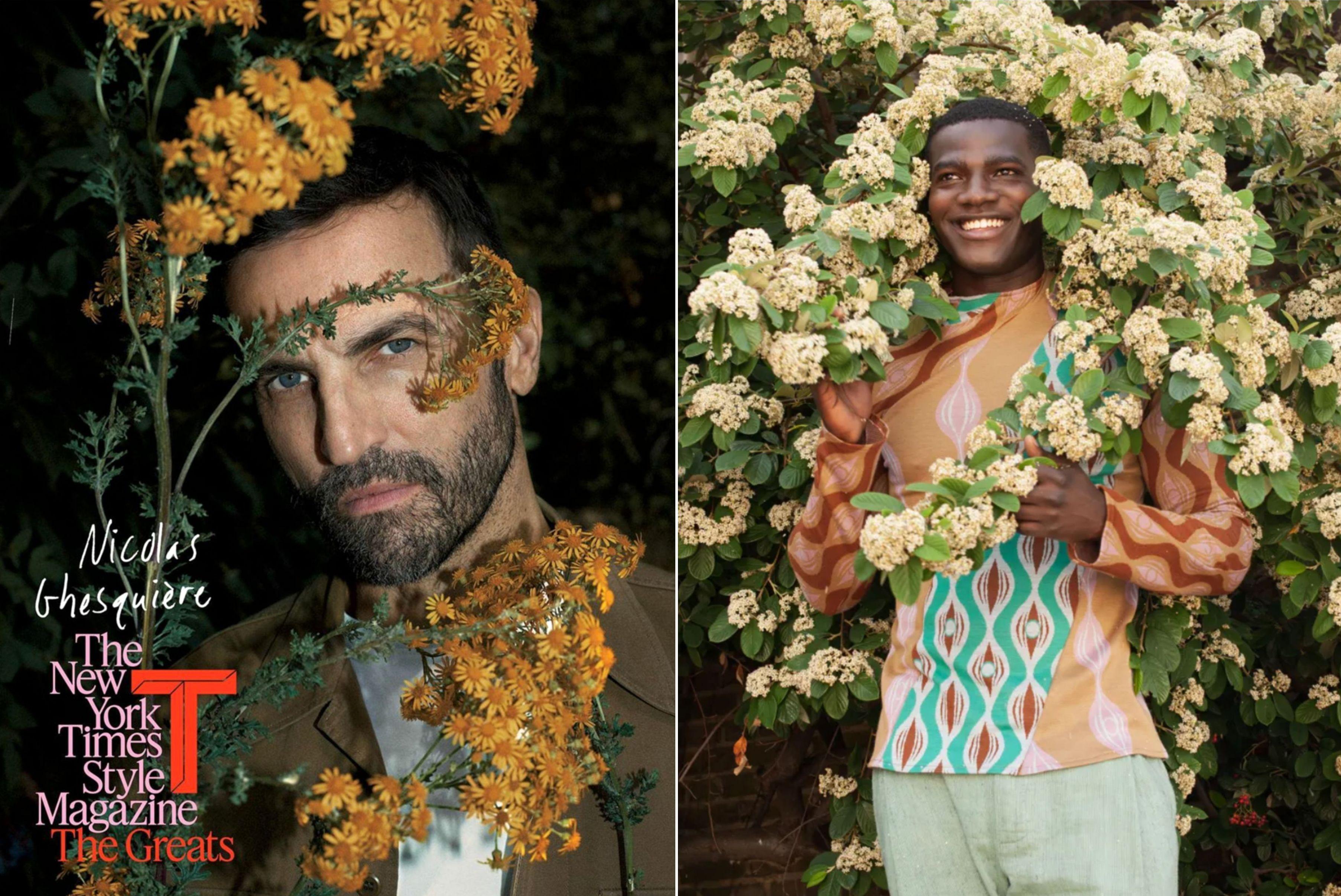 Men among flowers